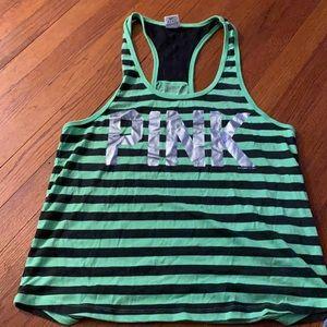 Victoria's Secret  PINk tank green black lace s